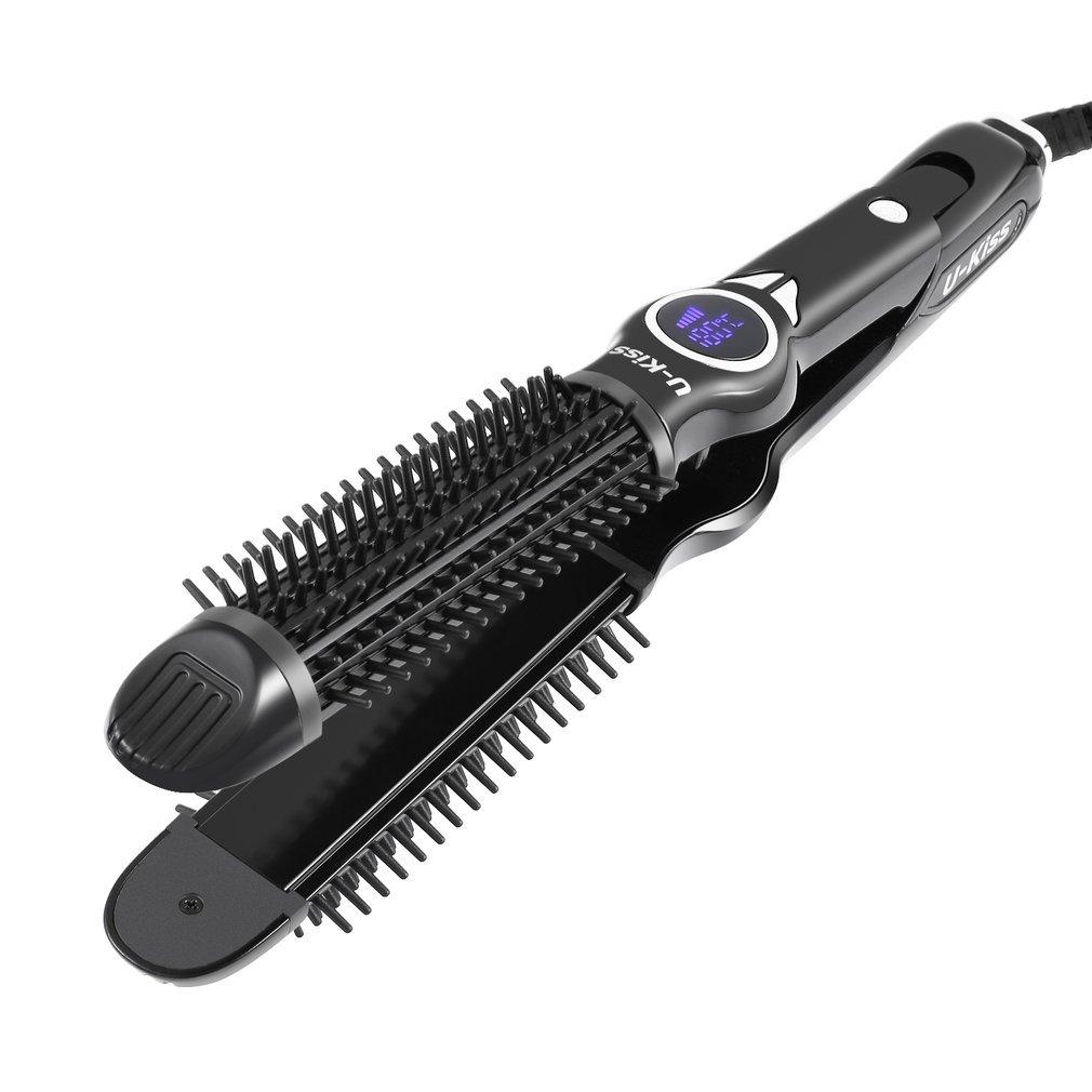2-in-1 Ionisch Haarglätter Bürste, Lcd-display,Schneller Heizfunktion,Justierbare Temperatur,Hochwertige Keramikbeschichtung,um Deine Haare Gesünder Und Seidiger Zu Schützen