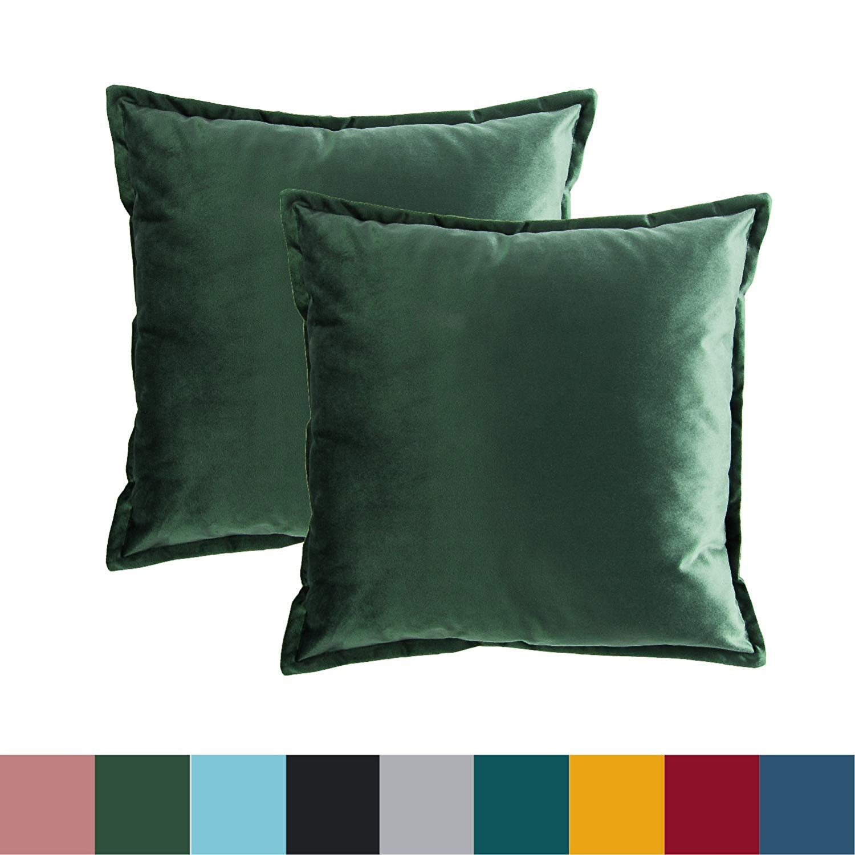 Bedsure Kissenhülle Kissenbezug 45×45 cm Grün 2er Set für Sofakissen Dekokissen