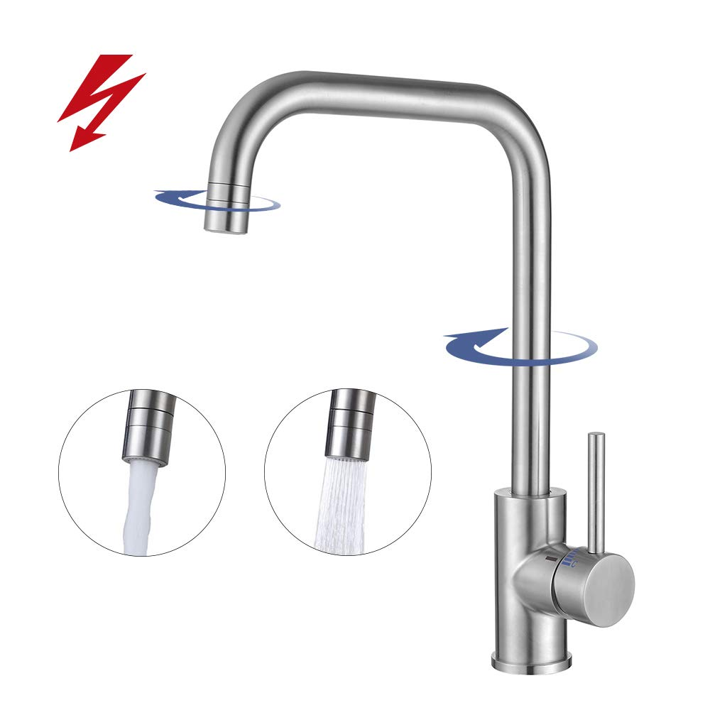 Homelody Niederdruck Küchenarmatur 360° Drehbar Wasserhahn Armatur Küche Einhebelmischer Spültischarmatur Mischbatterie Einhandmischer für Spüle