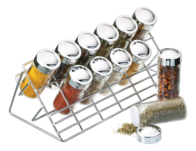 Kitchen Craft Gewürzregal verchromt, 12 Gläser