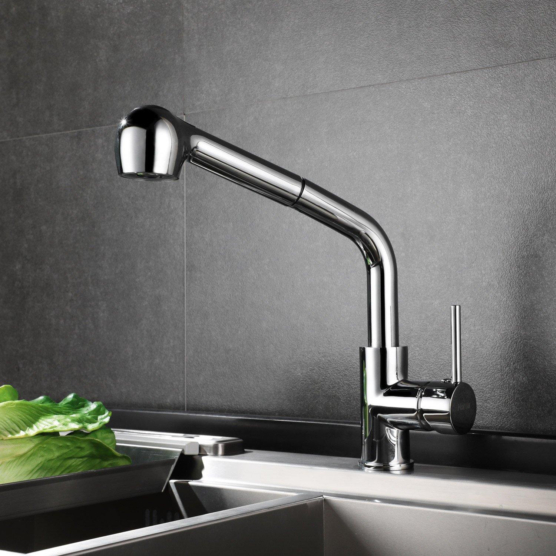HOMFA Küchenarmatur 360° Drehbar Armatur Küche Einhebel mit Zwei-Funktion-Brause Kalt-und Warmwasser Küchenarmatur Chrom