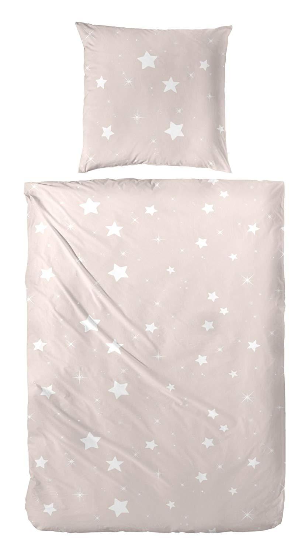 WOMETO Bettwäsche Biber Sterne beige ca. 135x200cm und ca.80x80cm, 100% Baumwolle