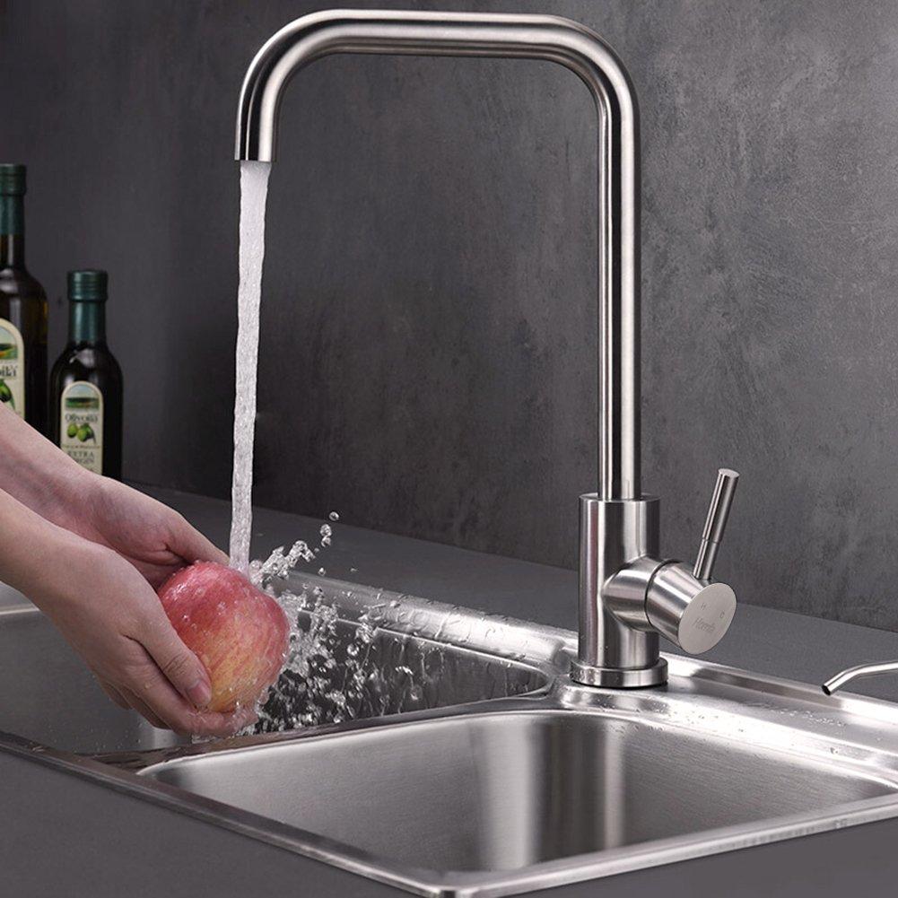 Wasserhahn 360° Drehbar Küche Einhebelmischer Spültisch Küchenarmatur