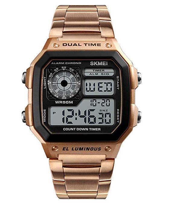 SKMEI Sport Edelstahl Herrenuhr Digital Backlight Mann Armbanduhr Männlich Chronograph Armbanduhr