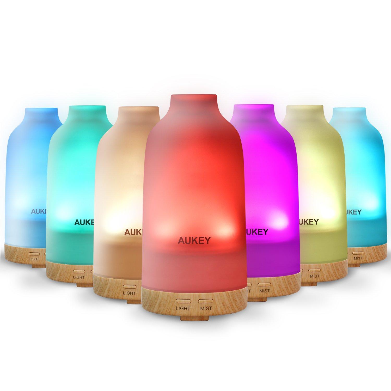 Aukey Aroma Diffuser 100ml mit 7 Farben-LED Luftbefeuchter Glas Material