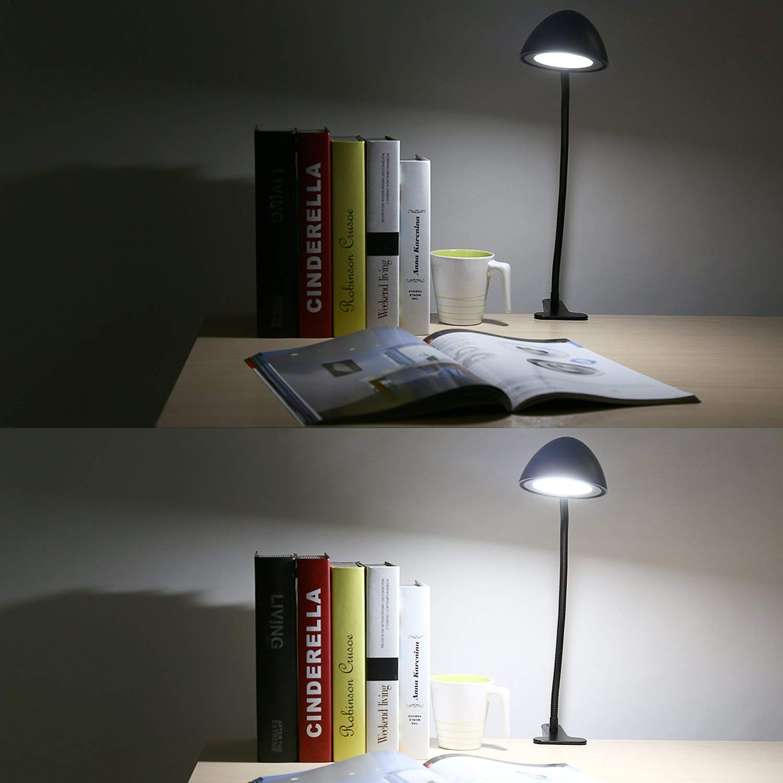AUKEY LED Klemmleuchte 3W, Dimmbar Tragbare Bettleuchte mit 2 Helligkeitstufe