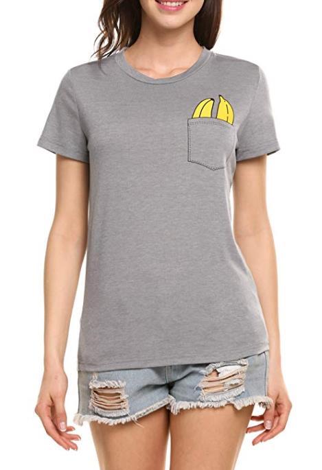 Trudge Damen T-Shirt Mädchenhaftes Bananamuster Baumwolle Rundhals kurzärmliges Sommershirt