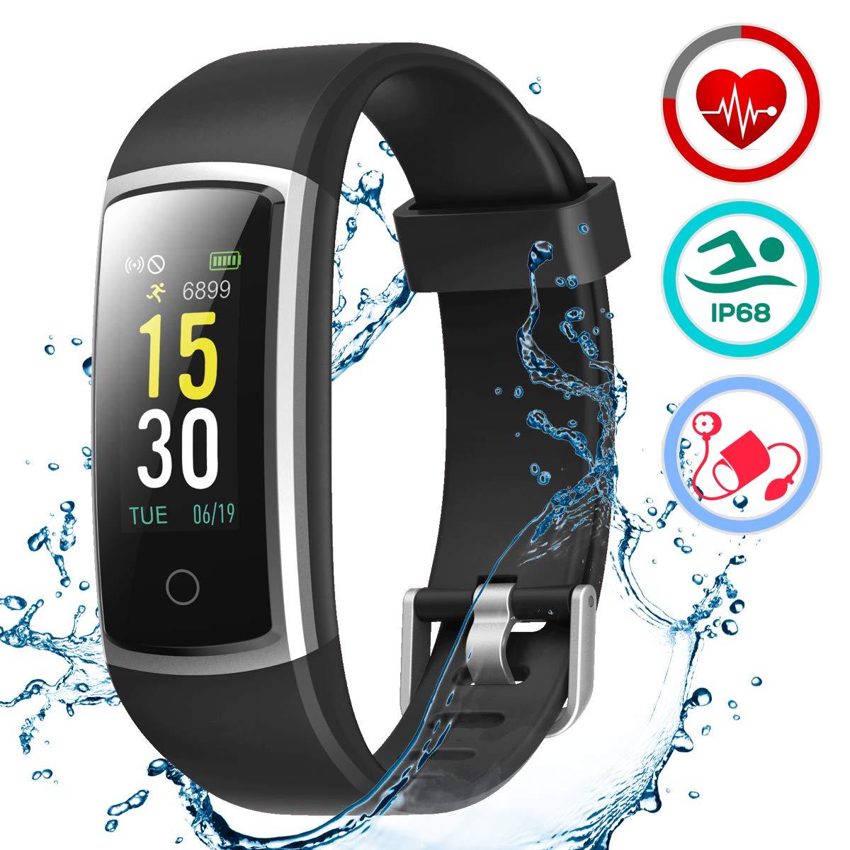 LATEC Fitness Armband mit Pulsmesser, IP68 Wasserdicht Fitness Trackers Farbbildschirm Aktivitätstracker Fitness Uhr Smartwatch