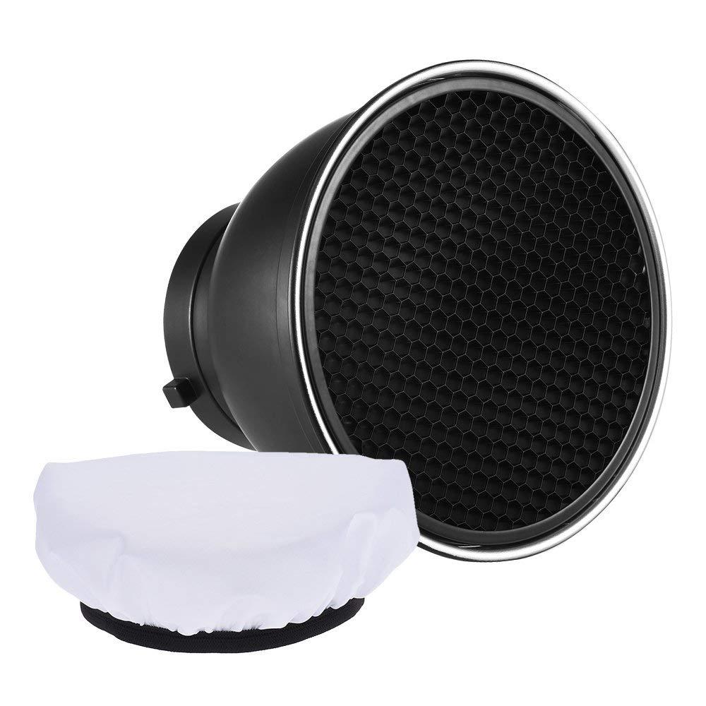 """Andoer 7 """"Standard Reflektor Diffusor Lampe Shade Dish mit 60 ° Honeycomb Grid weißes Weiches Tuch für Bowens Mount Studio Strobe Flash Light Speedlite"""
