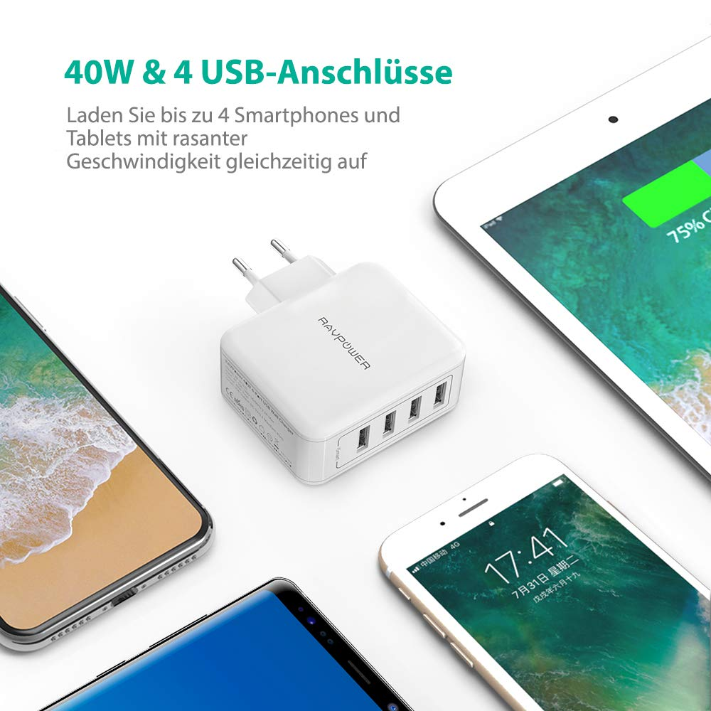 RAVPower USB Ladegerät 4-Port 40W AC Wandladegerät
