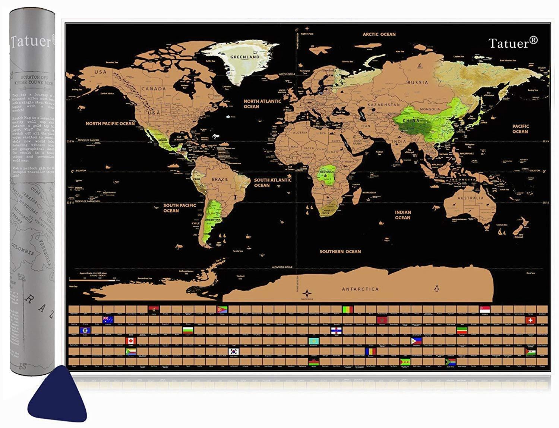 Tatuer Weltkarte Zum Rubbeln Rubbel Weltkarte Poster für Kinder Reisefreund