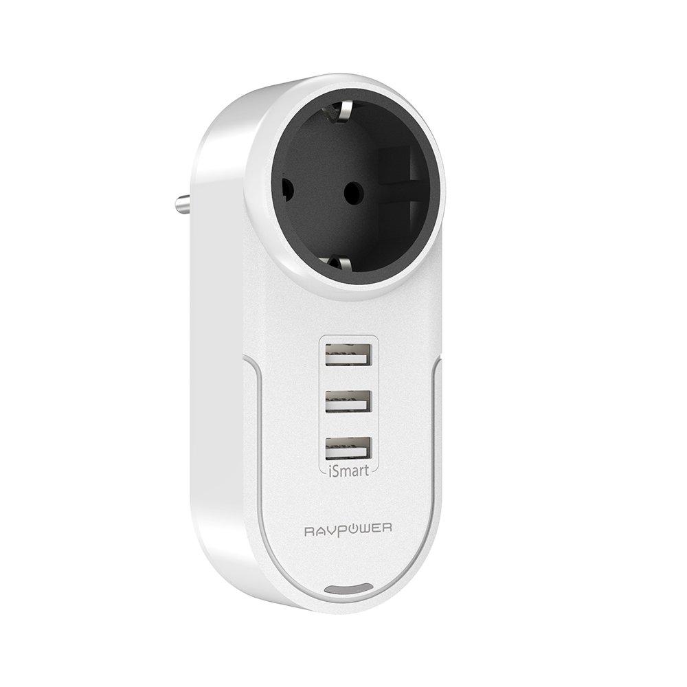 RAVPower Steckdosenadapter Steckdose mit 3 USB Anschlüssen Drehbares Reiseladegerät f