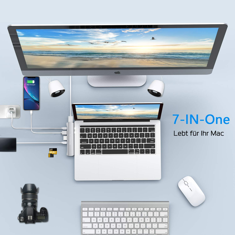 VANMASS USB C Hub, USB C Adapter für Mac Book Pro 2016/2017/2018 13″&15″ Mac Book Air 2018