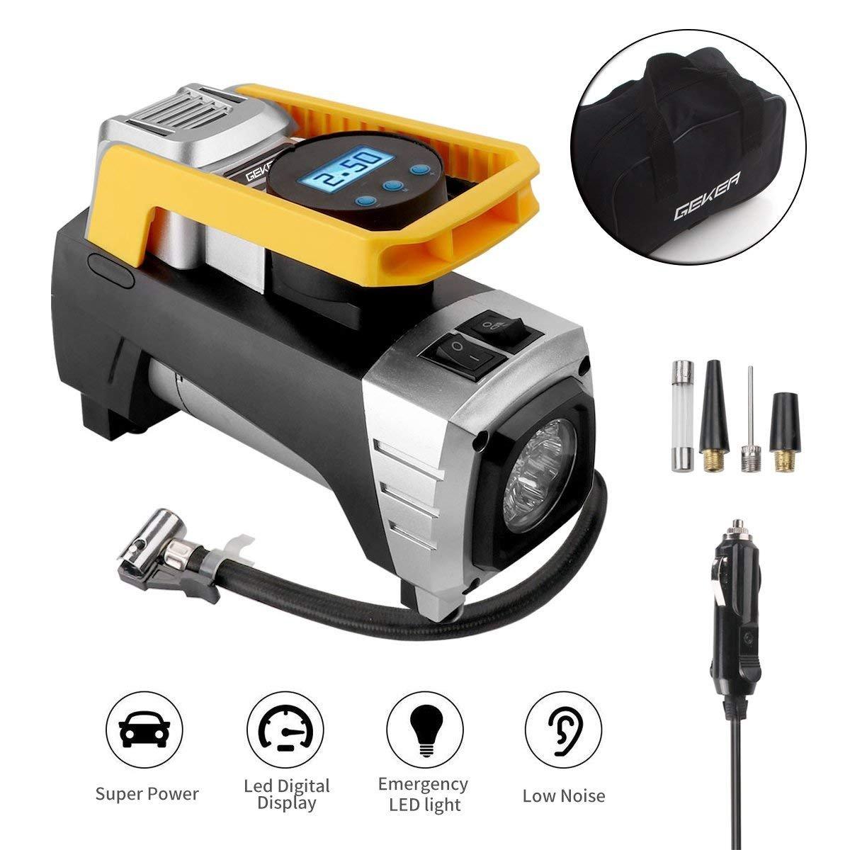 Geker Kompressor Auto 12V Luftkompressor 150 PSI/10bar Luftpumpe mit LCD-Anzeige und LED Lampe Reifenpumpe Digital Mini Tragbare Kompressor Inflator für Auto, Fahrräder, Ball