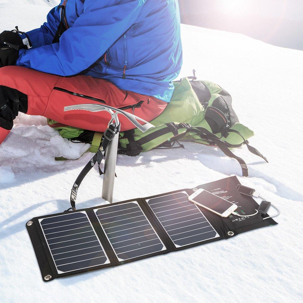 RAVPower Solar Ladegerät 16W, 2 Port USB Solarladegerät Outdoor Charger