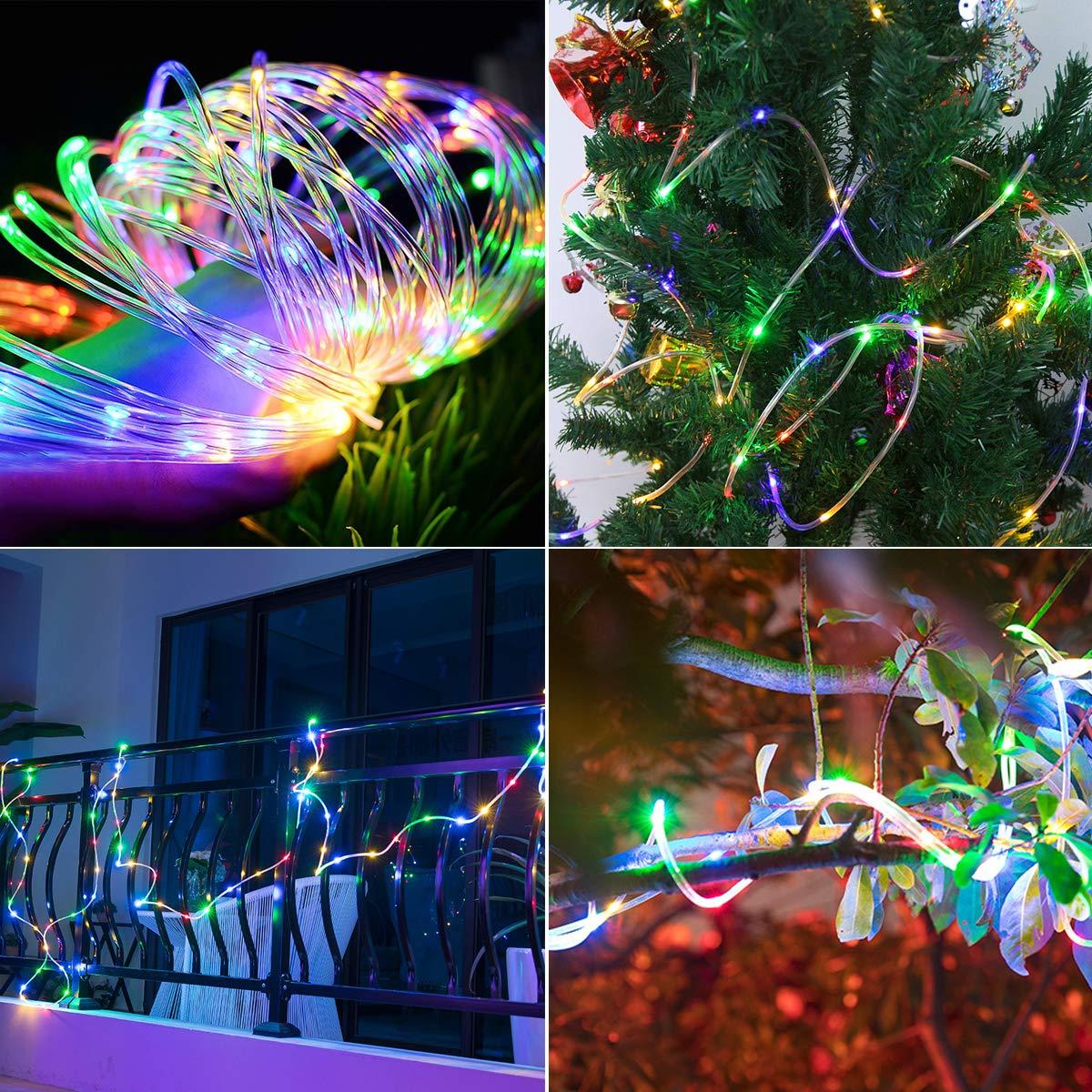 Lichterschlauch, ECOWHO 120er RGB LED Lichterkette 14M Mehrfarbig IP67 8 Modi Batteriebetrieb Fernbedienung