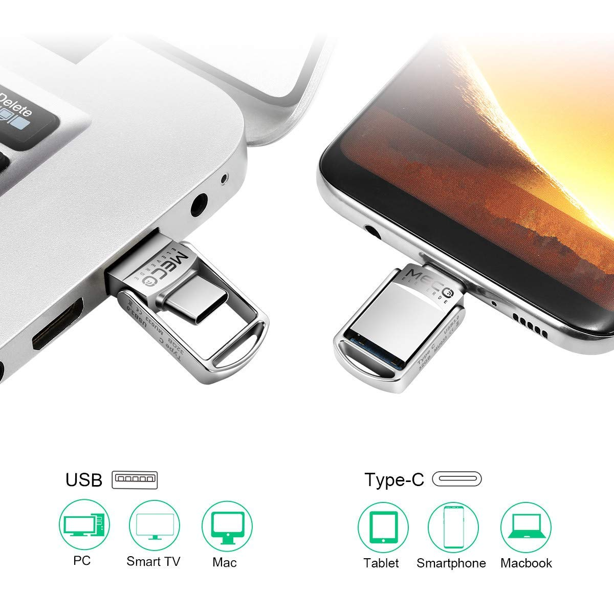USB Stick 32GB, MECO ELEVERDE USB C Stick OTG USB 3.0 Mini Memory Stick 2-in-1 Speicherstick Aluminium Weihnachten