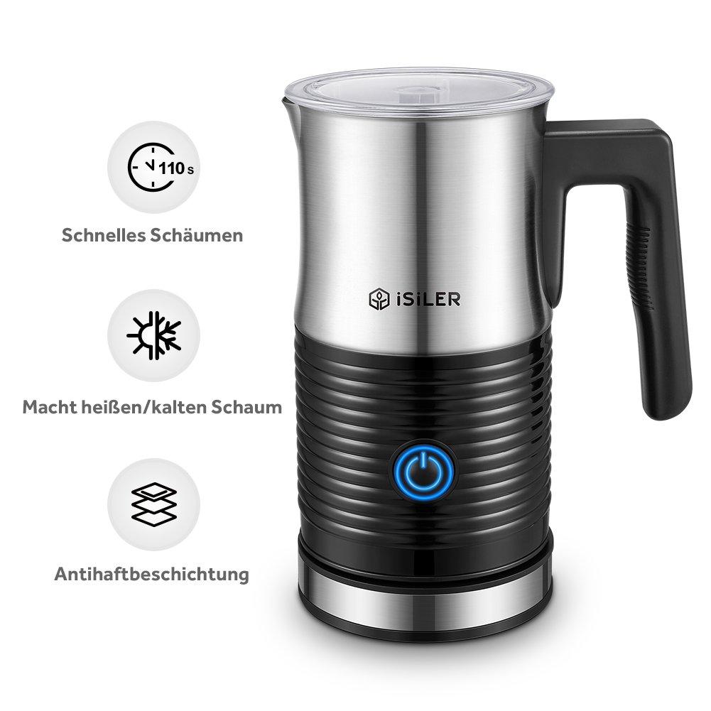 ISILER Milchaufschäumer, 500W Automatischer Milk Frother zur Zubereitung von Heiß- und Kaltschaum oder Warmmilch für Kaffee/Cappuccino/Latte/Espresso
