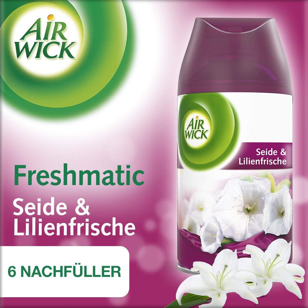 Air Wick Freshmatic Max Nachfüller Seide & Lilienfrische, automatisches Duftspray, Nachfüller für automatischen Lufterfrischer, 6 x 250ml