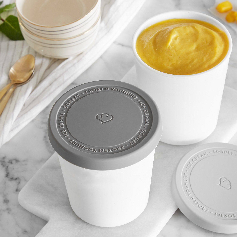 2er-Set Eisbehälter 1L | Aufbewahrungsbehälter für Speiseeis | Gefrierdosen | Eis-Container BPA-frei in Lebensmittelqualität | Eis-Zylinder