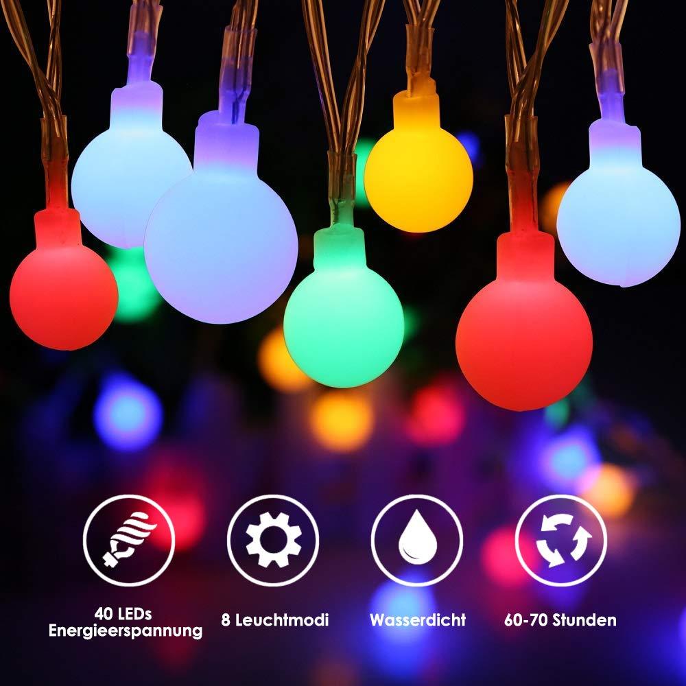 LED Lichterkette Batterie, ECOWHO 4,5M 40 LEDs Wasserdicht Kugel Lichterkette