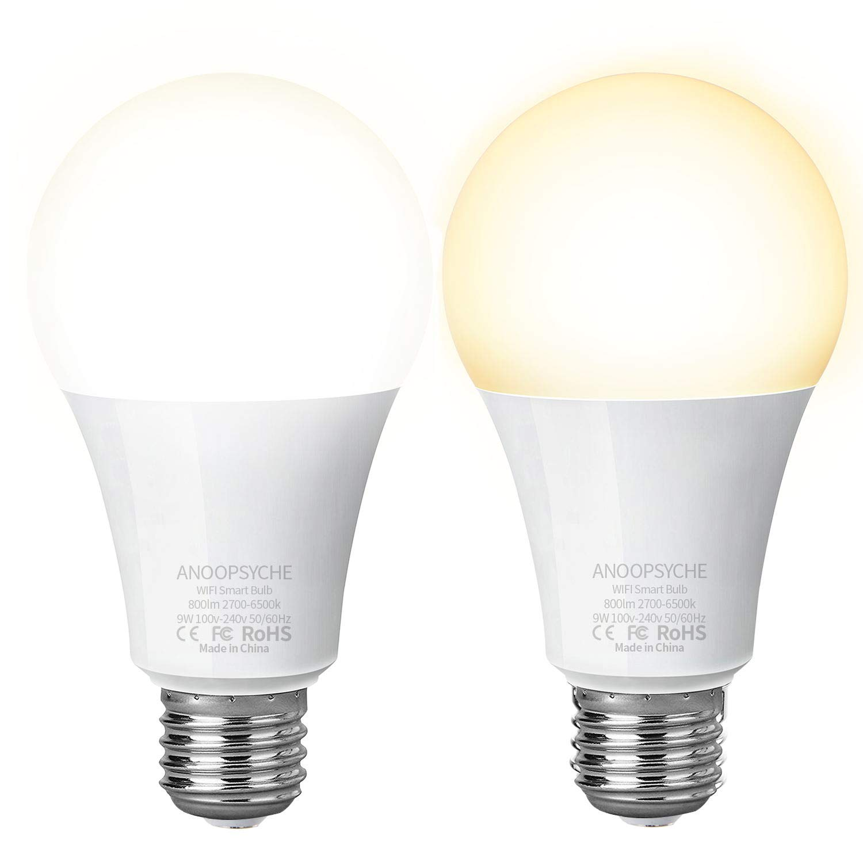 ANOOPSYCHE WLAN Smart LED Lampe Glühbirnen via APP kompatibel mit Alexa, Google Assistant