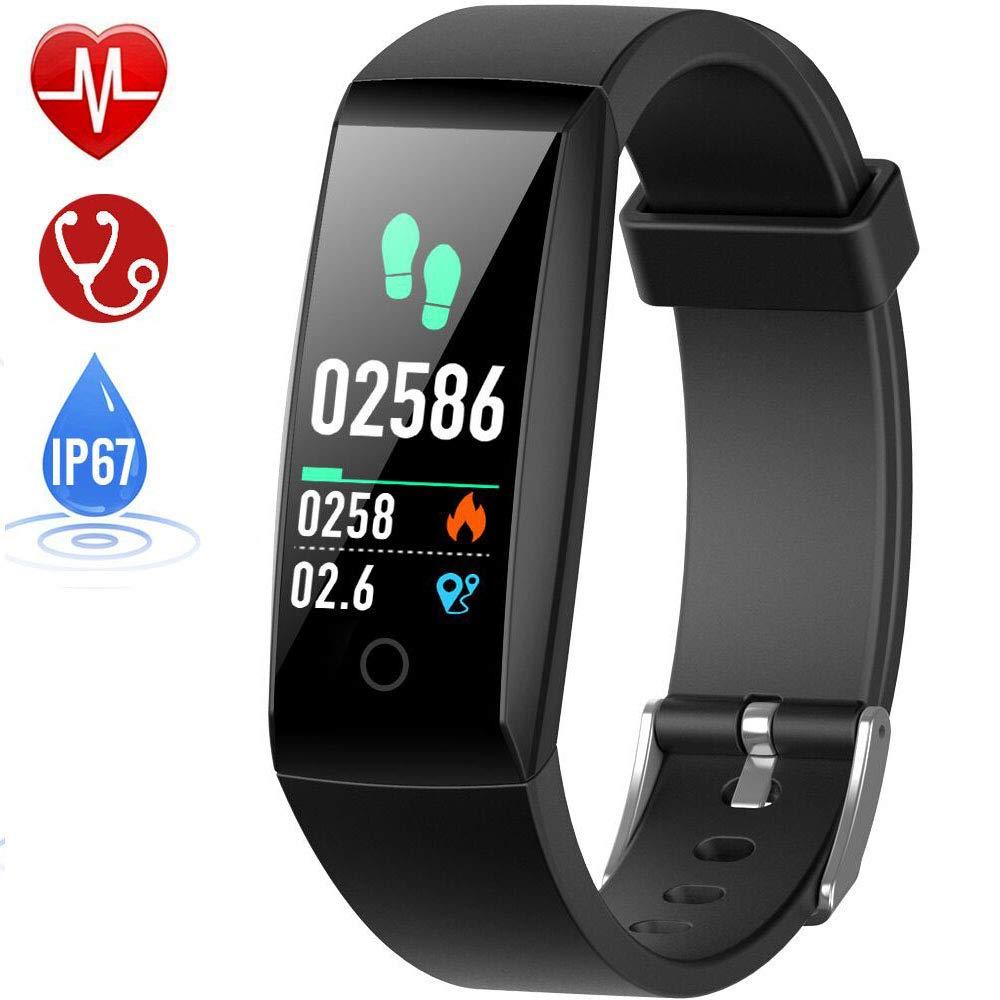 HETP Fitness Armband mit Pulsmesser, Fitness Tracker Uhr Wasserdicht IP67 Blutdruckmesser Schrittzähler Uhr Stoppuhr Sport GPS Aktivitätstracker Schlafüberwachung Anruf SMS
