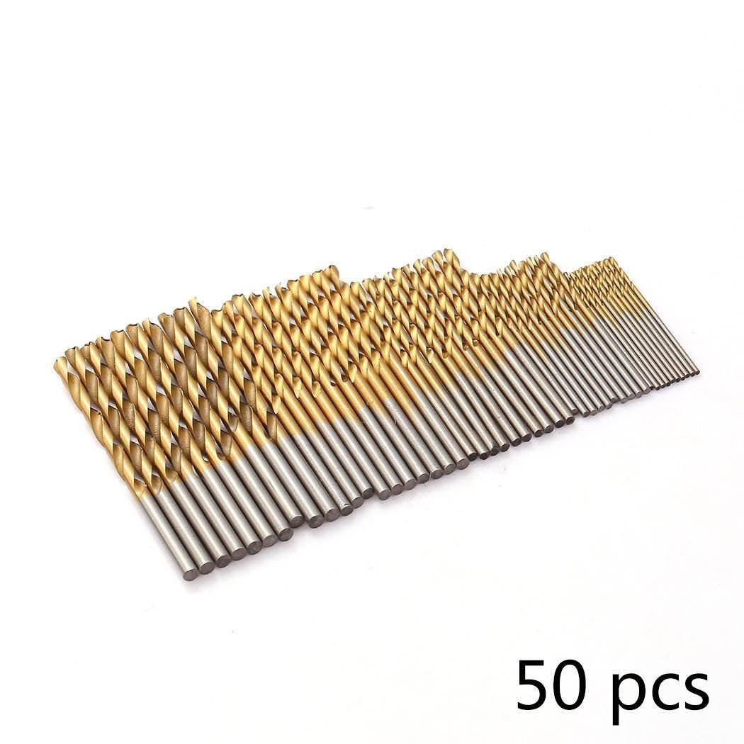 Kaimus 50 tlg Spiralbohrer Set HSS Bohrer Set Titanium Metallbohrer Handspiralbohrer Micro Bohrersets Werkzeuge Profi Drill Bit für Holz,Metall,Glas