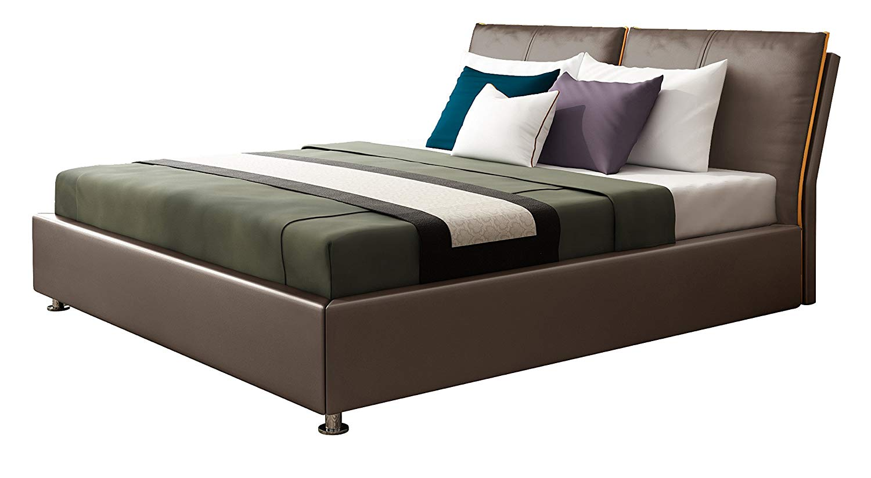 IQ Bed Modell Orlando Polsterbett, nuss, 200 x 180, Kopfteil 103 cm hoch
