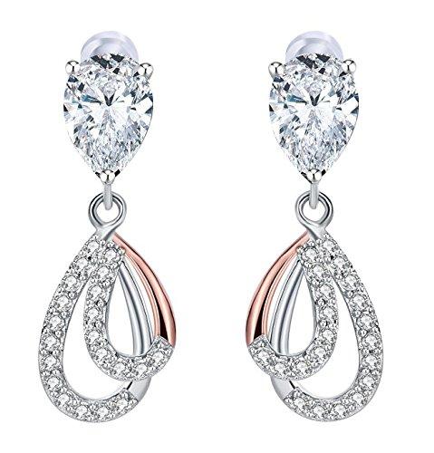 Ohrringe Damen,J.Rosée Weihnachtsgeschenke 925er Sterling Silber 5A Zirkonia Ohrringe Damen Dewdrop Geschenkidee