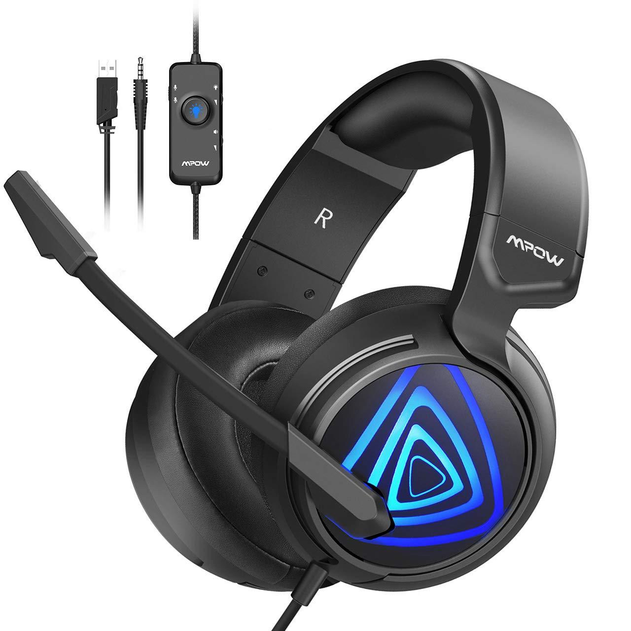 Mpow Gaming PC Headset EG8, 50MM- Neodym-Treiber /Stereo Over-Ear-Kopfhörer