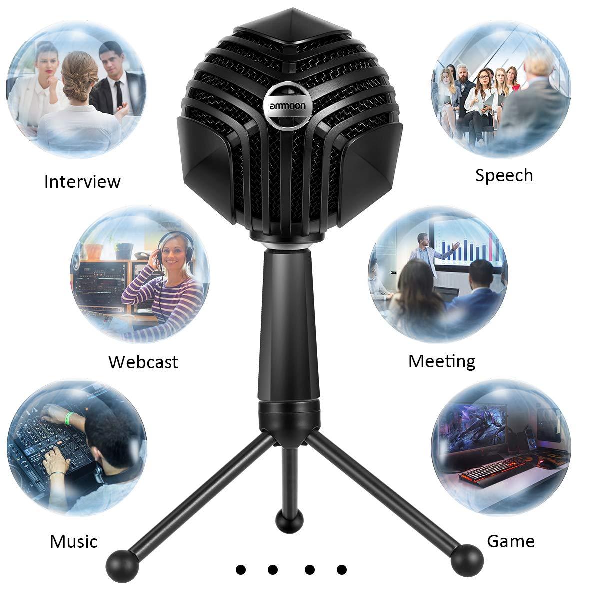 ammoon Mikrofon USB Kondensatormikrofon Kugelform Mikrofon