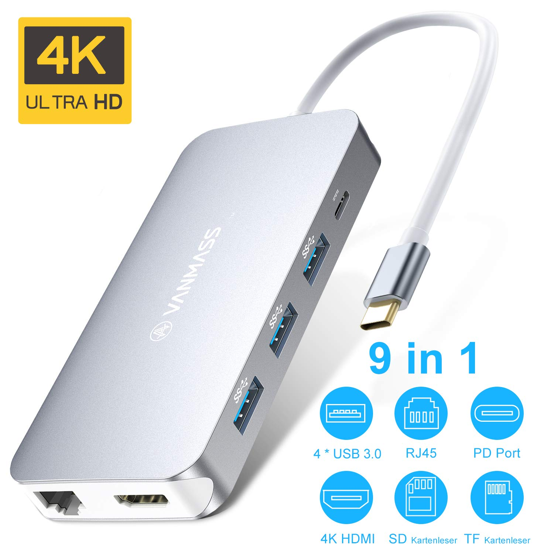 VANMASS USB C Hub 9 in 1 Aluminium USB C Adapter 4 Chips