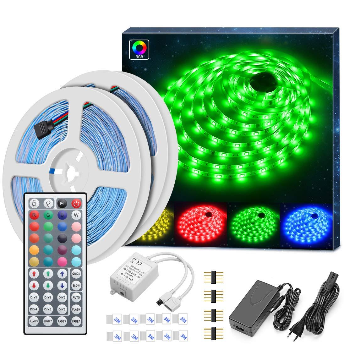 MINGER LED Strip Lichtband, 10M RGB SMD 5050 Led Streifen Selbstklebend