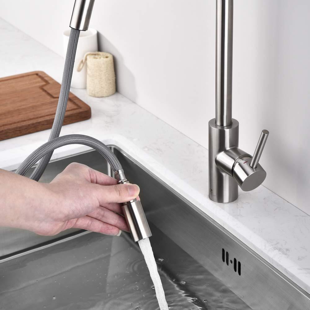 Homelody Mischbatterie Ausziehbar Wasserhahn mit Edelstahl