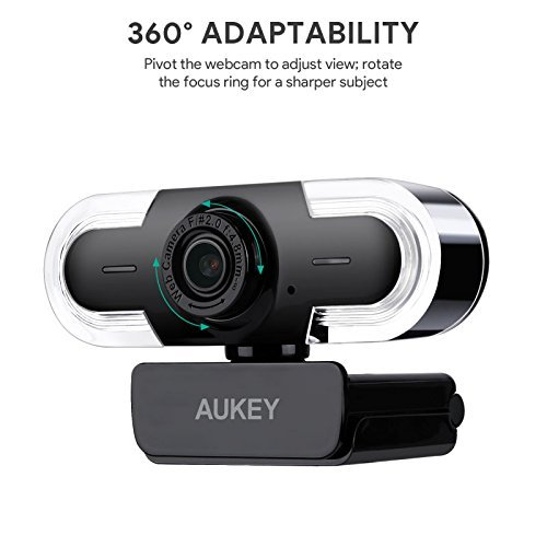 AUKEY Webcam 2K HD mit Mikrofon, Belichtungsautomatik, Manuellem Fokus, USB Kamera zum Video Chatten und Aufnahmen