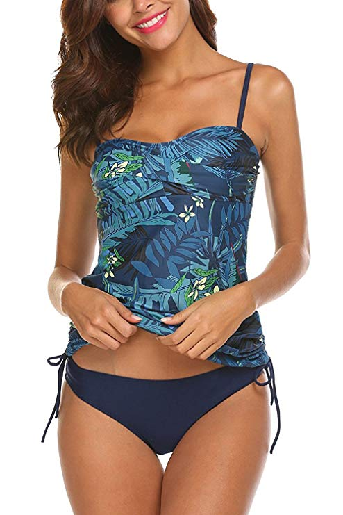 AYEEBOOY Frauen Plus Size Floral Halfter Tankini Set