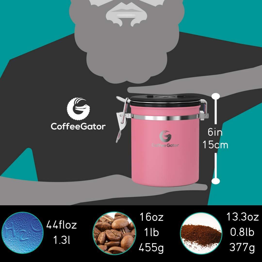 ROSA KAFFEEDOSE – KAFFEEBEHÄLTER aus Edelstahl mit Deckel und Aromaverschluss – Vorratsdose um Kaffeebohnen oder Kaffeepulver perfekt aufzubewahren