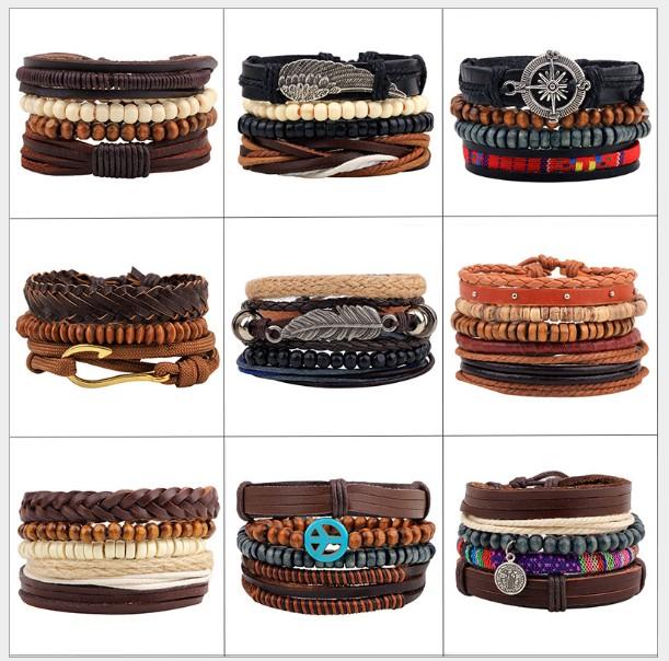 DeMa Jewelry mehrreihiges Armband mit Holzperlen aus Leder I Verschiedene Designs I größenverstellbar I handgefertigt