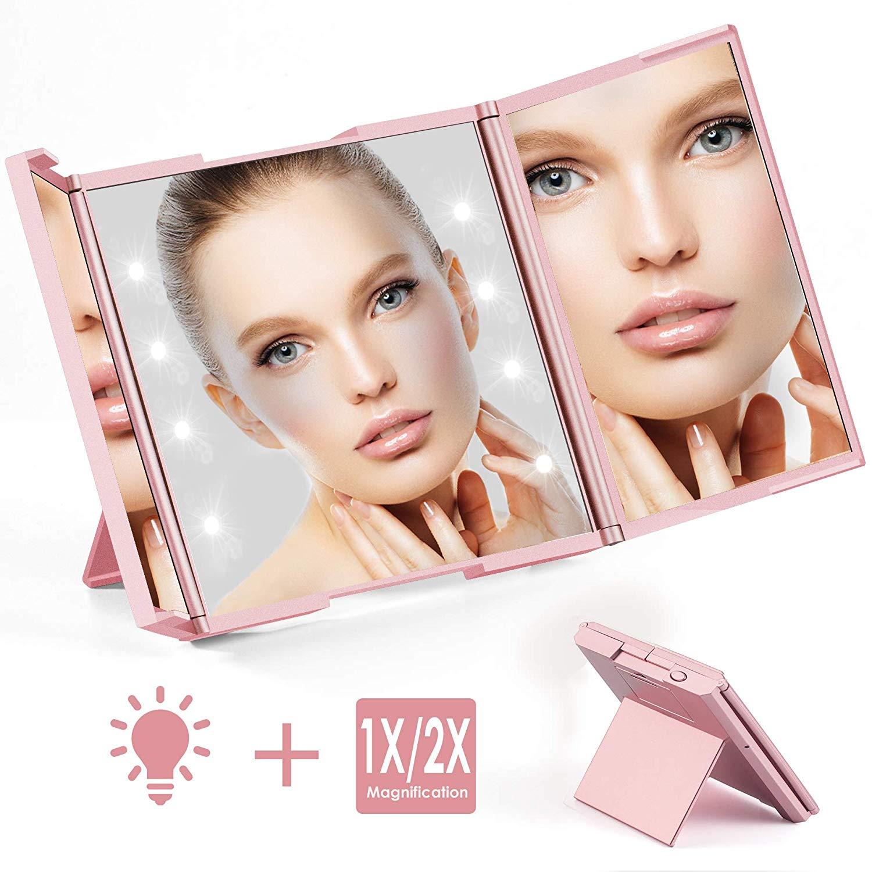 Quntis Tragbarer Kosmetikspiegel mit 8 LED Licht