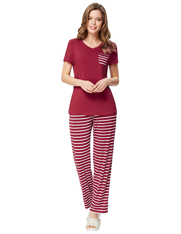 Zexxxy Damen Pyjama Bequem Zweiteiler Kurzarm Schlafanzug Nachtwäsche Set