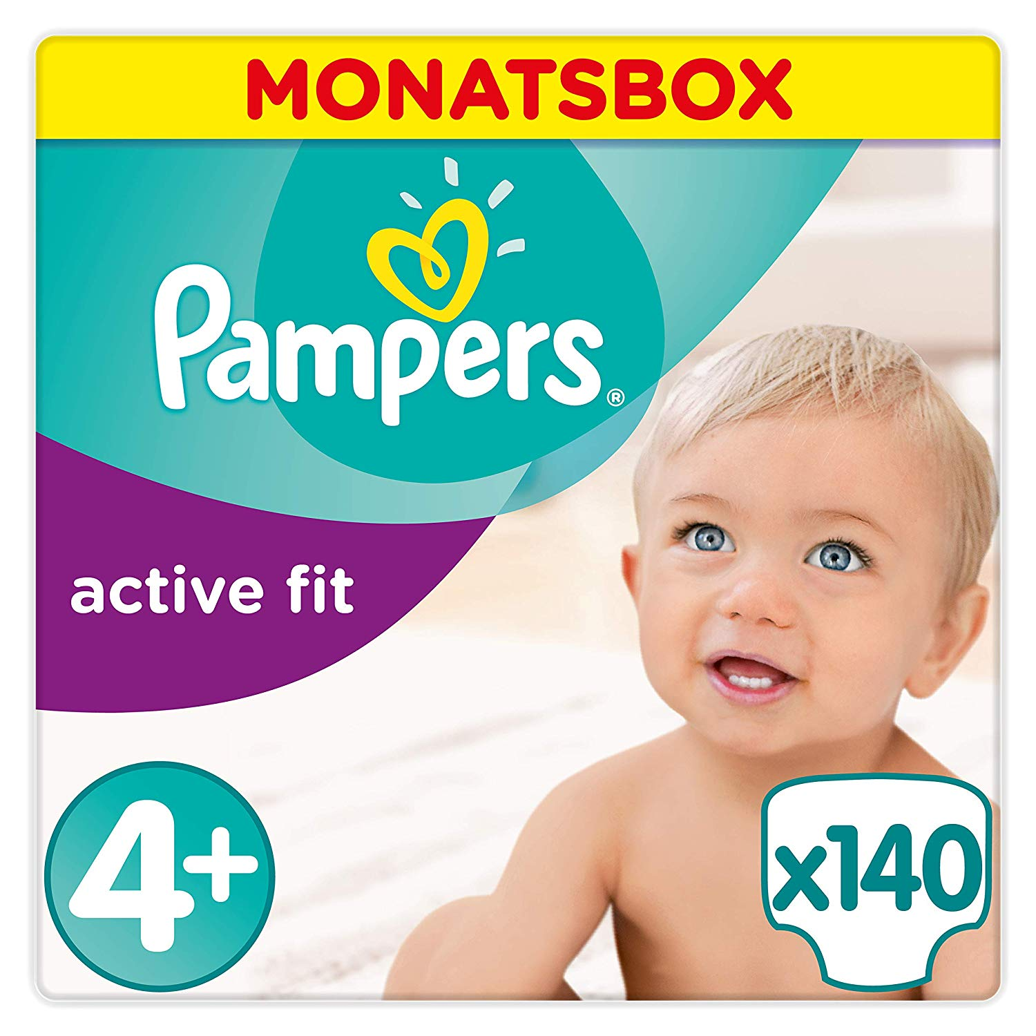 Pampers Active Fit Windeln, Gr. 4+, Maxi Plus 9-18kg, Monatsbox, 1er Pack (1 x 140 Stück)