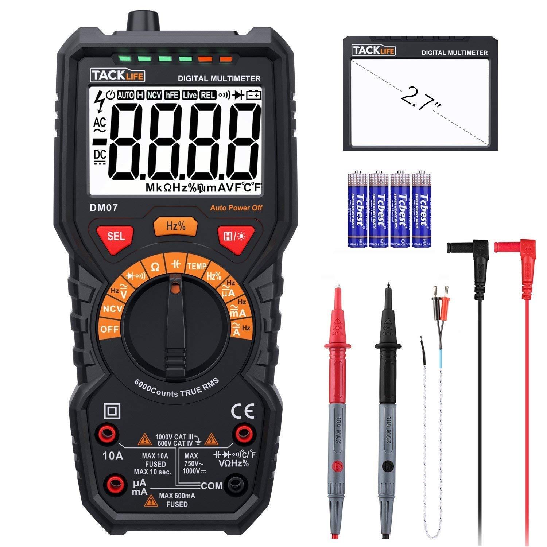 TACKLIFE Multimeter Digital Autorange 6000 Counts True RMS für AC DC Spannung Strom Widerstand