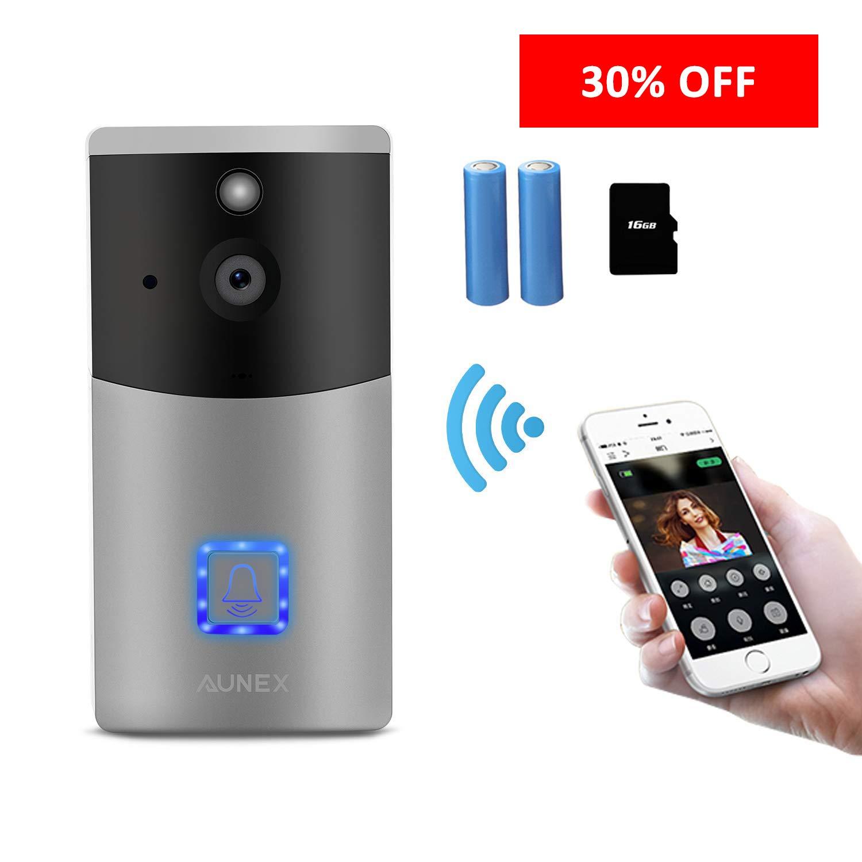 Video-Türklingel Wireless Smart 720P HD Überwachungskamera Türklingel mit 16-G-Karte 2 Batterien Unterstützung 2-Way Talk Weitwinkel-PIR-Bewegungserkennung Nachtsicht
