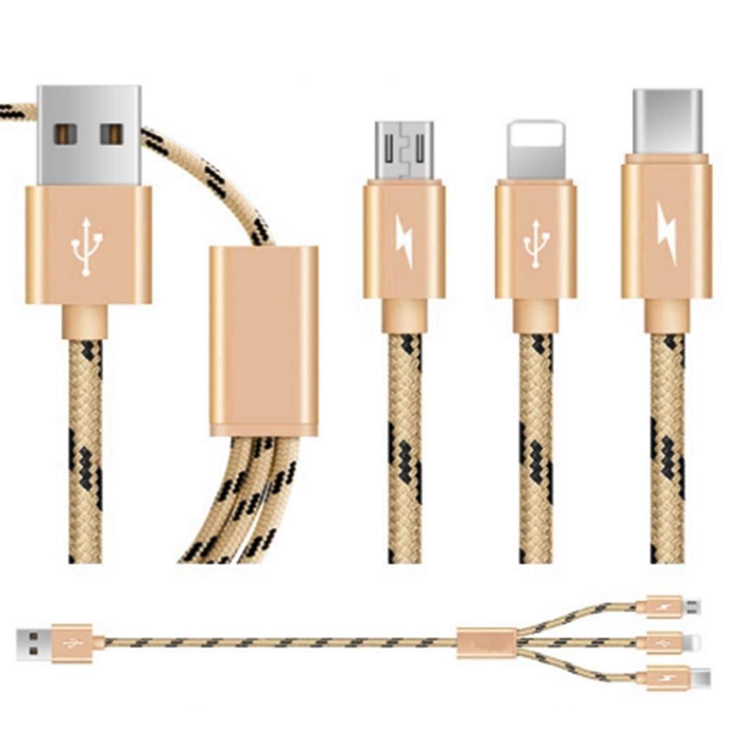 Micro USB Kabel Nylon 3 in 1 geflochtenes USB Ladekabel für Android, iPhone und andere USB-Geräte (100 cm-GO)