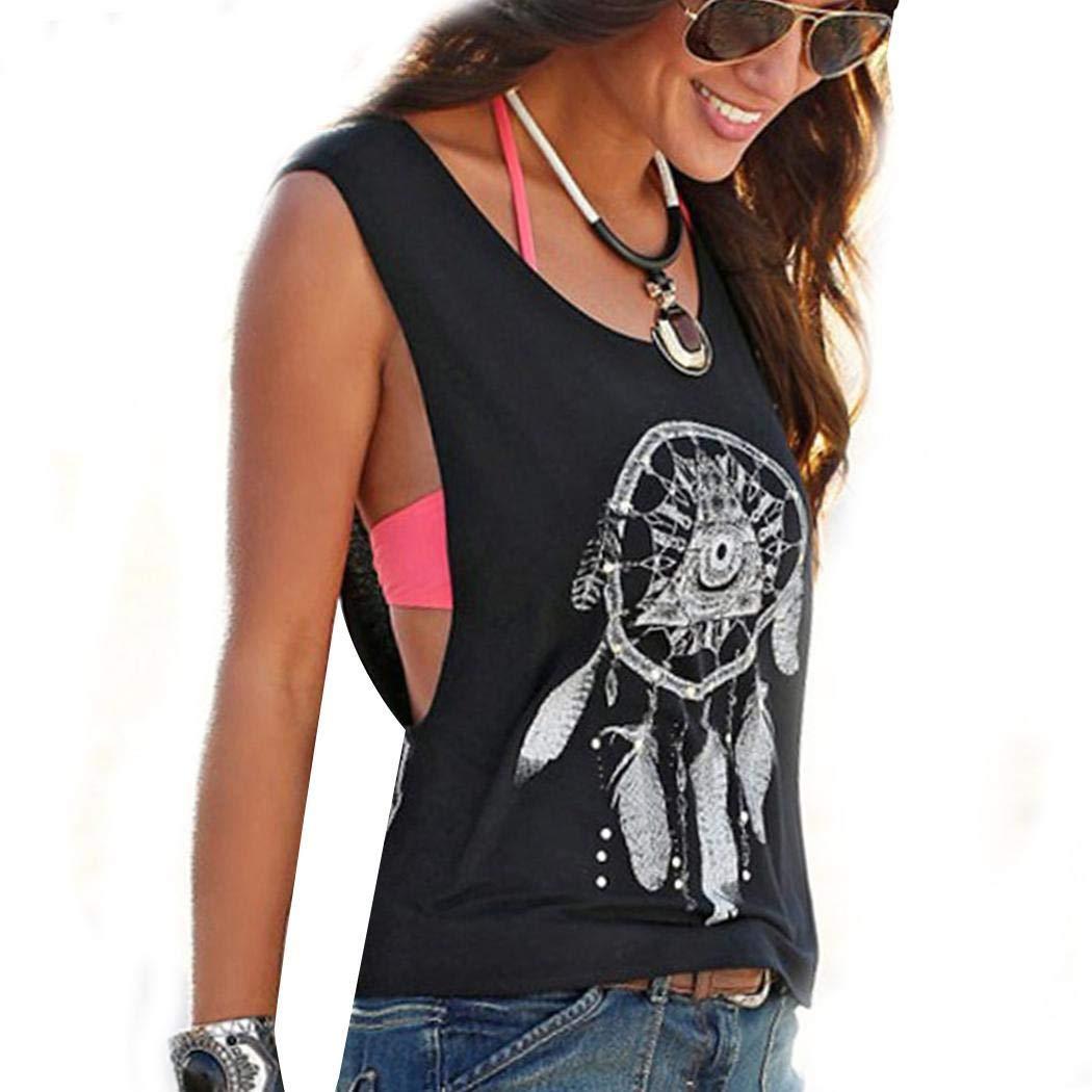 SummerRio Top Damen Sommer Shirt Ärmellos O-Ansatz Kurzarmshirt Basic Tops Tee Blumen Druck Boho Shirt Sommer