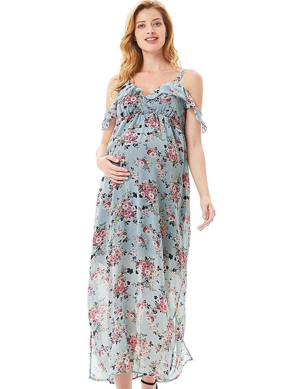 Elegant Schwangere Frauen Spaghetti Straps Sommmer Kleid