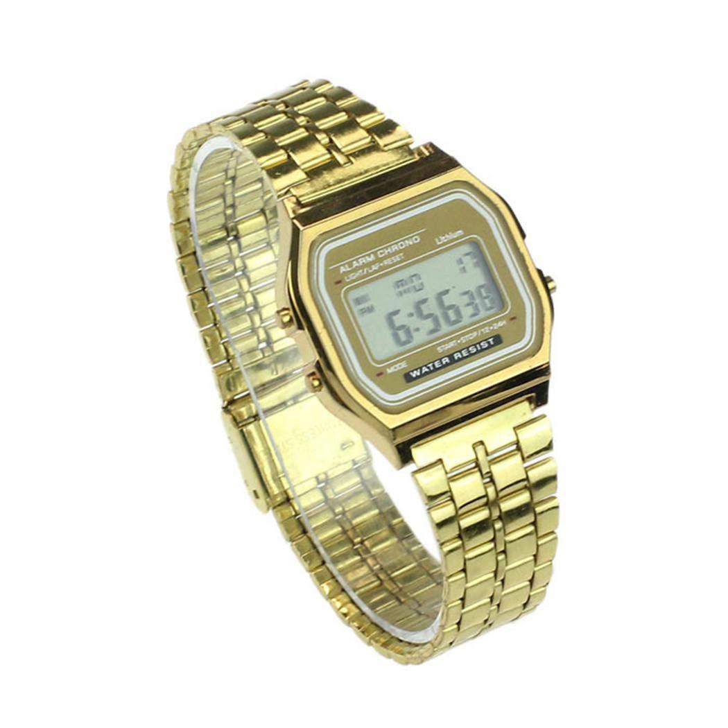 Mann Edelstahl Band LCD Digital Armbanduhr Sport Quadrat Quarz Uhren Armbanduhren