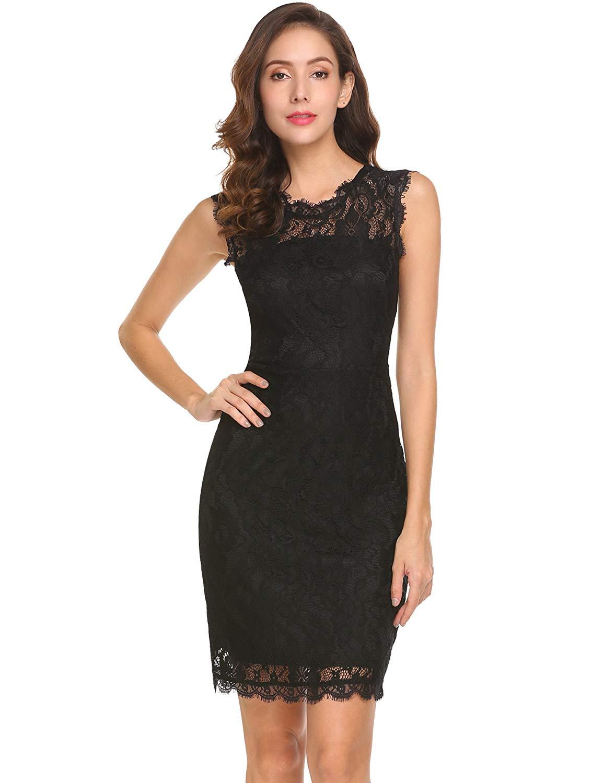 Damen Elegantes Kleid Sommerkleider Spitzenkleid Mini Abendkleid Etuikleid Partykleider