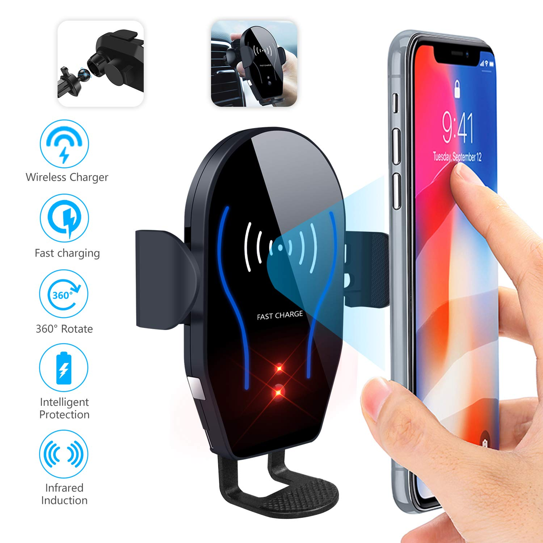 Dimi Wireless-Autoladegerät-Halterung, Qi-Schnellladung, Auto-Air-Vent-Handyhalter
